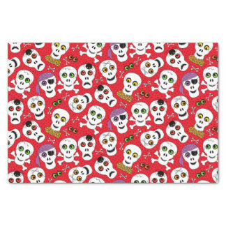 Cute Halloween Skulls on Red Tissue Paper