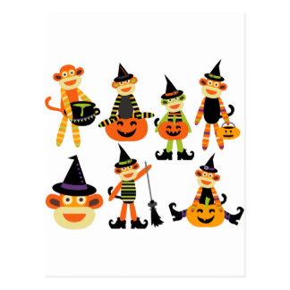 Cute halloween sock monkeys post cards