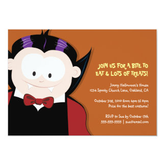 "Cute Halloween Vampire Kids Party 5"" X 7"" Invitation Card"