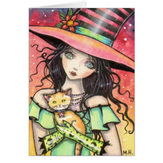 Cute Halloween Witch and Orange Tabby Card