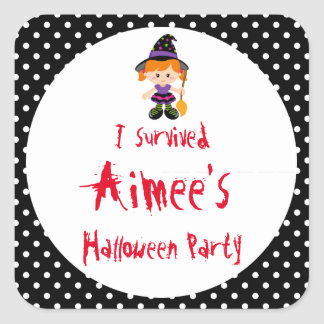 Cute Halloween Witch Girl Halloween Party Square Sticker