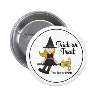 Cute Halloween Witch on Broom Stick Personalized 2 Inch Round Button