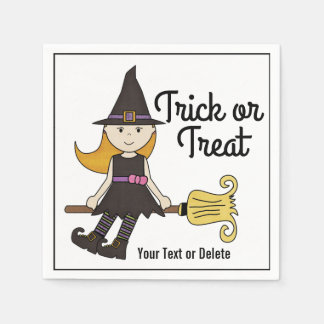 Cute Halloween Witch on Broom Stick Personalized Disposable Napkins
