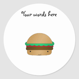 Cute hamburger classic round sticker