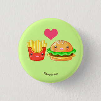 Cute Hamburger & Fries Pinback Button
