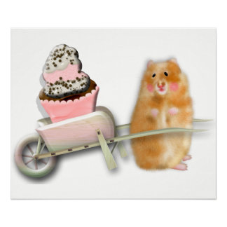 Cute hamster art Illustration. Poster
