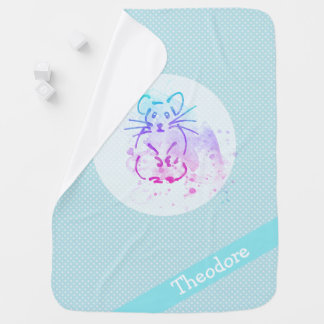 Cute Hamster Nursery Art - Add Name to this Baby Blanket