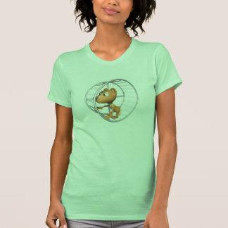 cute hamster running in wheel tee shirt