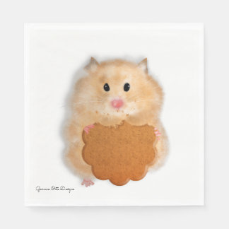 Cute hamster with biscuit paper napkin. disposable napkin