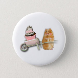 Cute hamster with muffin illustration gift 2 inch round button
