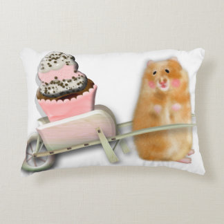 Cute hamster with muffin illustration gift accent pillow