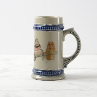 Cute hamster with muffin illustration gift beer stein