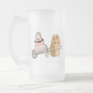 Cute hamster with muffin illustration gift frosted glass beer mug