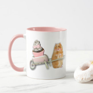 Cute hamster with muffin illustration gift mug