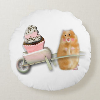 Cute hamster with muffin illustration gift round pillow