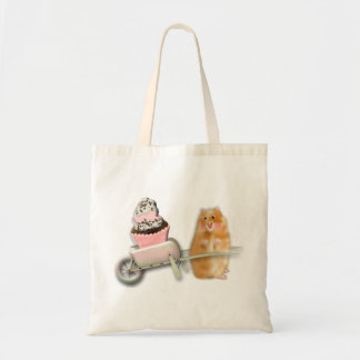 Cute hamster with muffin illustration gift tote bag