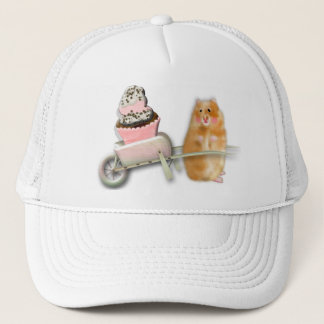 Cute hamster with muffin illustration gift trucker hat