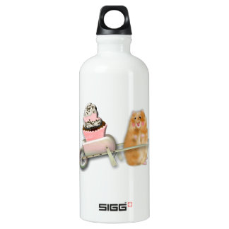 Cute hamster with muffin illustration gift water bottle