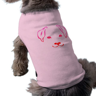 Cute Hand Drawn 5-Line Dog Pink Pet Shirt for Pets