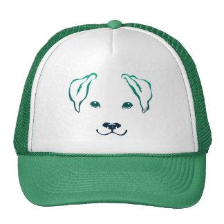 Cute Hand Drawn 5 Lines Dog Green Trucker Hat