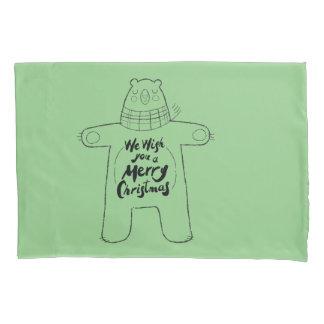 Cute hand drawn bear sage green bedding Xmas gifts Pillowcase