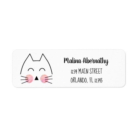 Cute Hand-Drawn Cat Custom Return Address Label