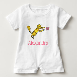 Cute Hand Drawn Cat Pink Butterfly Monogram Name Baby Romper