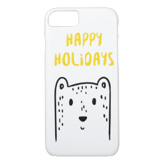 "Cute hand drawn Christmas beer ""Happy holidays"" iPhone 8/7 Case"