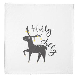 "Cute hand drawn Christmas Deer ""Holly Jolly"" Duvet Cover"