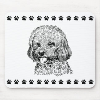 Cute Hand Drawn Dog + Paw Prints Mouse Pad