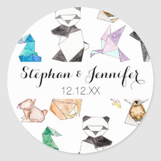 Cute Hand Drawn Geometric Paper Origami Animals Classic Round Sticker