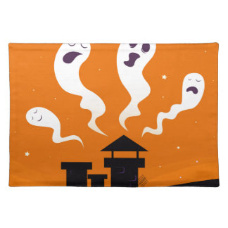 Cute hand-drawn Ghosts on Orange Place Mat