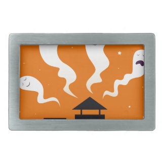 Cute hand-drawn Ghosts on Orange Rectangular Belt Buckle