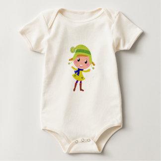 Cute hand-drawn Green Elf Baby Bodysuit