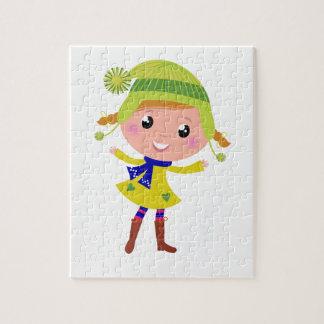 Cute hand-drawn Green Elf Jigsaw Puzzle
