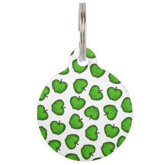 Cute Hand Drawn Green Fruity Apples Pattern Pet Name Tag