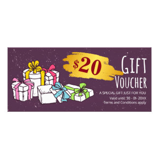Cute hand drawn illustration gift voucher template rack card