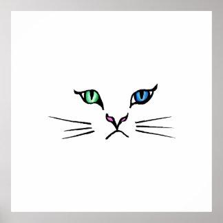 Cute Hand Drawn Kitten Face Poster