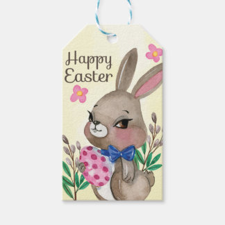 Cute hand drawn Miss Easter bunny and eggs Gift Tags
