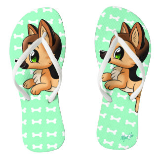 Cute Hand Drawn Puppy Dog Mint Green Flip Flops