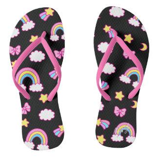 Cute Hand Drawn Rainbow Black Flip Flops / Sandals