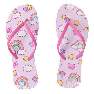 Cute Hand Drawn Rainbow Pink Flip Flops / Sandals