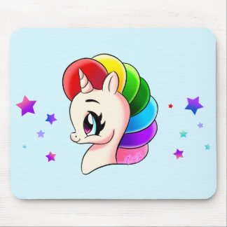 Cute Hand Drawn Rainbow Unicorn Mouse Pad