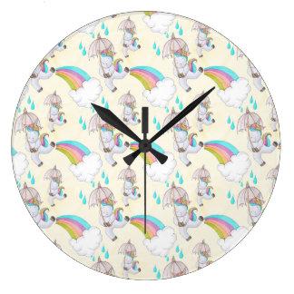 Cute Hand Drawn Unicorn Pattern Large Clock