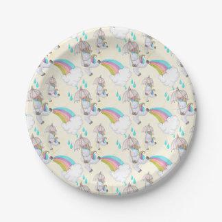 Cute Hand Drawn Unicorn Pattern Paper Plate