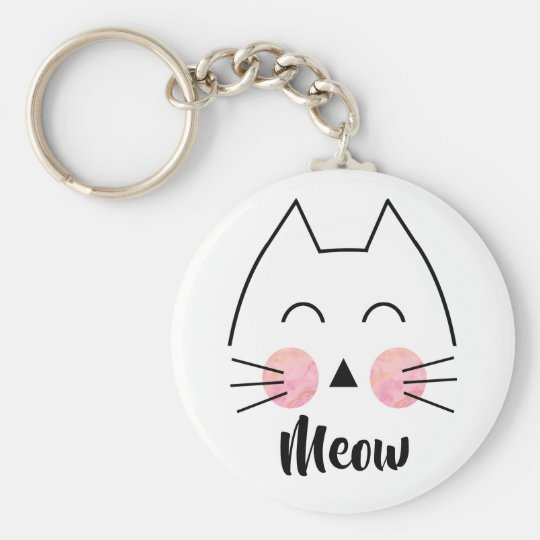 Cute Hand-Drawn Watercolor Cat Meow Keychain