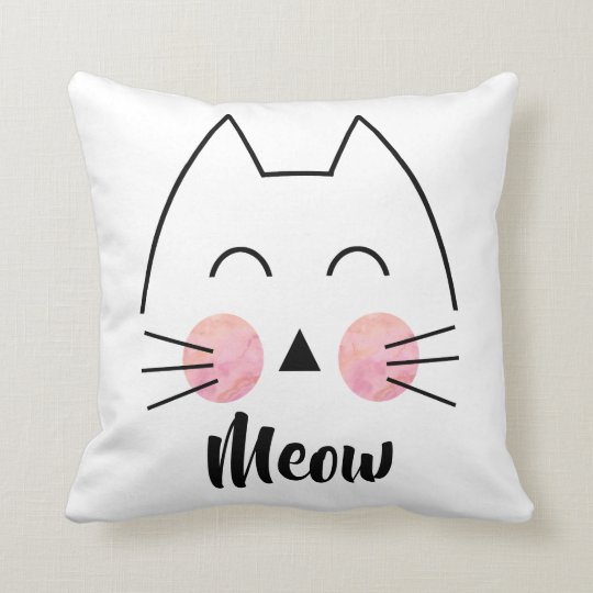 Cute Hand-Drawn Watercolor Cat Meow Throw Pillow