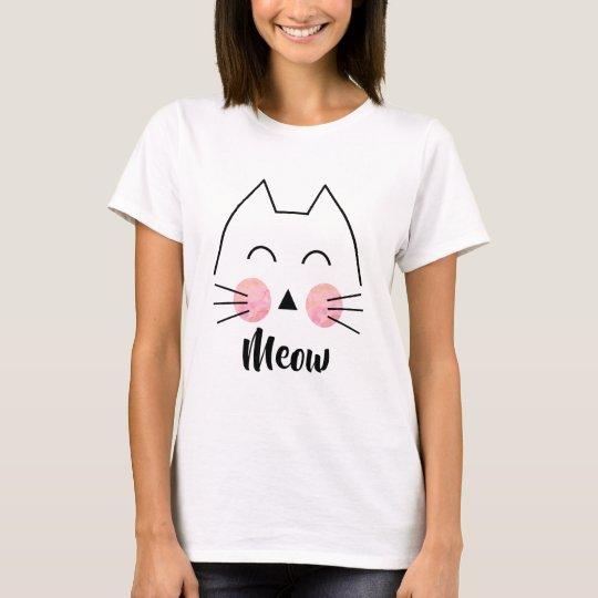 Cute Hand-Drawn Watercolor Cat Meow Women's Shirt