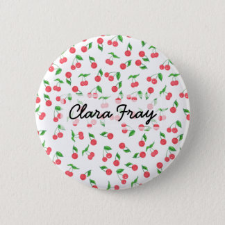 cute hand drawn watercolor cherry pattern 2 inch round button