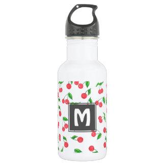 cute hand drawn watercolor cherry pattern 532 ml water bottle